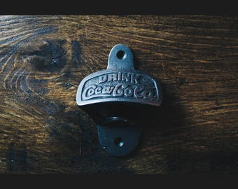 Vintage Style Wall Mounted Bottle Opener in an Antique Iron Finish (Coca Cola)