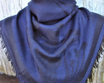 Vintage navy black soft scarf