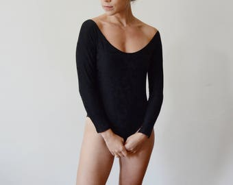 1980s Deborah Wiley Black Textured Bodysuit - XS