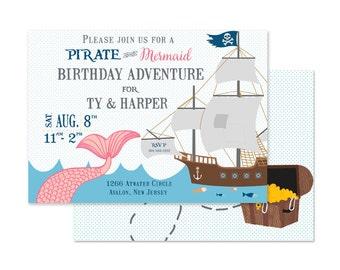 Mermaids and Pirates Party Invitation (Mermaids Party, Pirates and Mermaids Party, Pool Party, Under the Sea, Boy Girl Birthday Invitation)