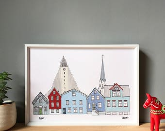 Reykjavik Print A4 - Reykjavik Cityscape - Scandinavian Print - Scandi Home Decor - Iceland Print