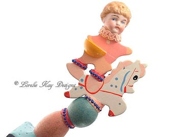 Boy Riding Horse Art Doll Sculpture  Mixed Media One of a Kind  Assemblage Art Wood Doll Nursery Art Decoration Baby Shower Gift