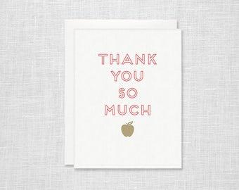 Letterpress Teacher Thank You Card - Apple Thank You So Much - Teacher Appreciation