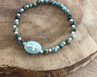 Amazonite, 925 sterling silver and African Turquoise bracelet