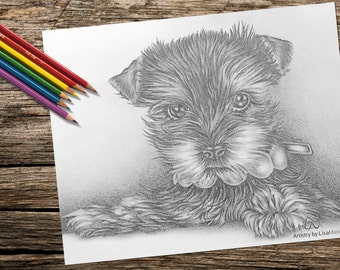 Printable coloring page, Adult Coloring Page, Coloring Pages, Instant download coloring, Puppy, Dog coloring page, coloring book for adults