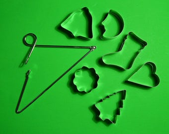 Lot of 6 Small Cookie Cutters with Metal Hanger
