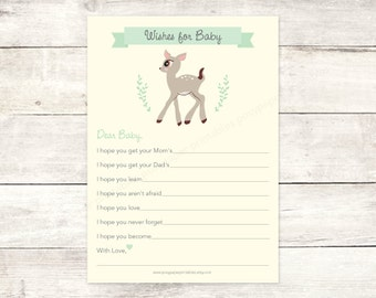 wishes for baby baby shower printable DIY deer yellow green woodland gender neutral cute well wishes digital shower games - INSTANT DOWNLOAD