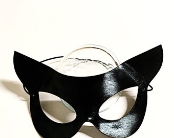 Vinyl Cat Mask, costume mask, costume accesory, feline mask, cat mask, black cat mask, molded cat mask, flirty cat mask, lovers mask