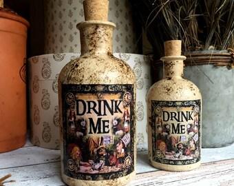 Large Alice in Wonderland Bottle. Alice in Wonderland Gift. Drink Me Bottle. Mad Hatters Tea Party. Alice in Wonderland Decor. Drink Me.