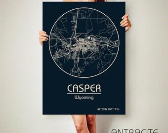 CASPER Wyoming CANVAS Map Casper Wyoming Poster City Map Casper Wyoming Art Print Casper Wyoming poster Casper Wyoming map
