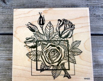 Paper Parachute Wood Mounted Rubber Stamp Rose Collage