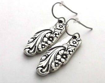 Spoon Earrings, Evening Star 1950, Legit Vintage, Silverware Jewelry, dangle drop earrings, Handmade Teaspoon Handles November birthday gift