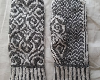 Hearts and Swirls Hand-Knitted Mittens