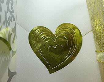 25 pcs Embossed Foil Seal Stickers, Gold Medallion Holiday Seal or Gold Heart Shaped - YOUR CHOICE