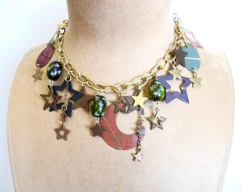 CELESTIAL Necklace Gold Vintage Assemblage Moon and Stars Boho Rust Green Black Carved Glass Beads Crescent Moon One of a Kind Adjustable