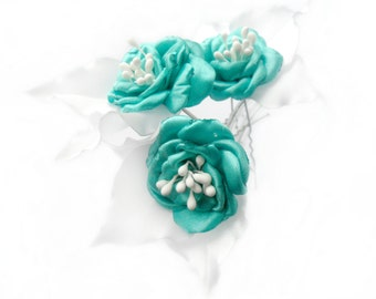 Turquoise White Roses Christmas Gift For Girl Hair Pins Fascinator Prom Piece Bridesmaids Pins Bridal Pin Wedding Adornment Gift Ideas