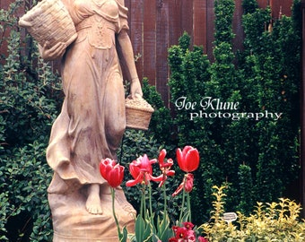 Spring season images,Garden photography, fine art photography, Oregon, Garden ornaments,Statue,flowers,blooming flowers,tullips