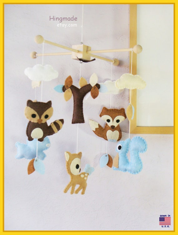 Woodland Friends Baby Mobile Bunny Deer Fox Squirrel Owl And