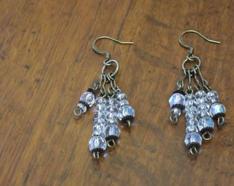 Clear and bronze cluster earrings