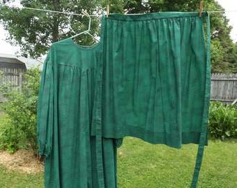 Green Prairie Dress With Apron & Bonnet, Long Ruffled Calico Dress, Cotton, Size XL, Pioneer Costume, Little House, Country, Old Fashioned