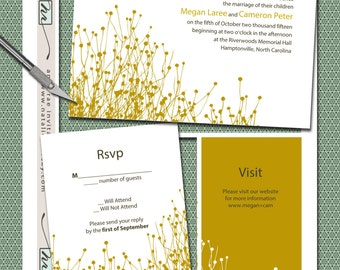 DIY- Rolling Prairie, Printable Wedding Invitation Suite - Billy Buttons, Craspedia