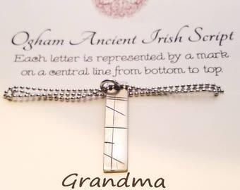 Celtic Tree Alphabet Ogham Runes Ancient Irish Script  Jewelry Mom Grandmother Mhamo Necklace