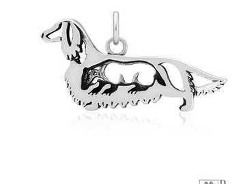 Sterling Silver Long-haired Dachshund Pendant, Body With Badger