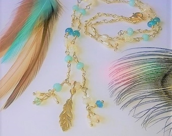 Gold vermeil feather necklace Ethiopian Opal Apatite Pearl Chalcedony Unique