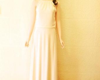 Ivory Prom Bridesmaid Dress. Ivory Maxi Dress. Chiffon Floor Length Dress.