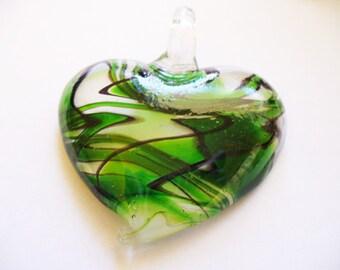 Pendant  Lampwork Glass Heart Green 50x43MM
