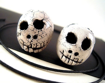 2 GOTHIC Ceramic Skull Beads, 16mm, 20mm, Hand Formed, Stoneware Clay, Ghost White Fissured Glazed Clay Beads, Cherokee Indian Artisan SA29