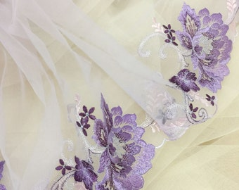 2 yards exquisite lavender embroidery lace trim for doll dress, bridal veil decor, flower girl wedding dress