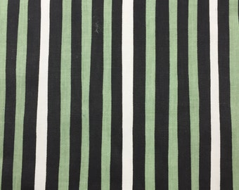 Vintage green, black and off-white striped cotton