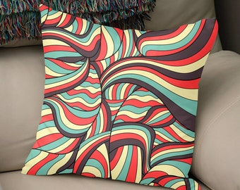 African Style No16, African waves, Square Pillow