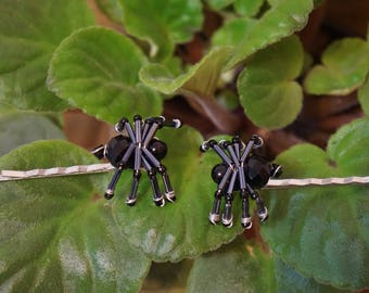 Black Glass Beaded Wire Spider Hair Accessories