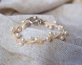 Natural pearl bracelet Genuine freshwater pearl jewelry wedding bracelet bridal jewellery twisted bead bridesmaids accessory Flower girl