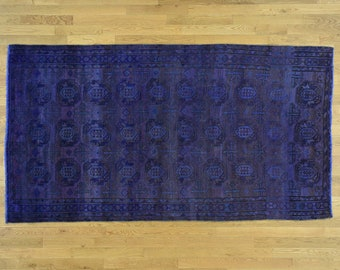 """4'9""""x8'9"""" Overdyed Persian Bakhtiar Vintage Wide Runner Hand Knotted Rug"""
