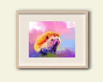 Hedgehog Art Print - pink nursery wall art, baby girl nursery, animal wall art, heddgehog wall art, animal prints, animal illustration