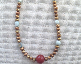 Pearl Necklace + Bohemian Pearl Necklace + Bohemian Necklace + Golden Pearls