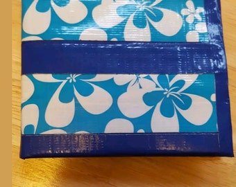 Handmade blue and floral duck tape wallet