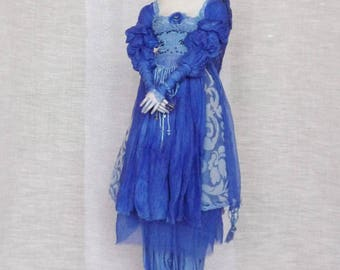 Etsy's 13th Birthday Sale OOAK Art doll Blue bird