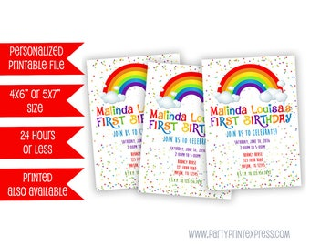 Printable Rainbow Birthday Invitation - Rainbow Party Invitation - Rainbow Invitations - Rainbow Invite - Rainbow Party Invite - Girl 1st