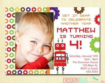 Robot invitations etsy boys robot birthday invitation birthday party printable invite 3rd 4th 5th 6th birthday diy photo invite stopboris Gallery
