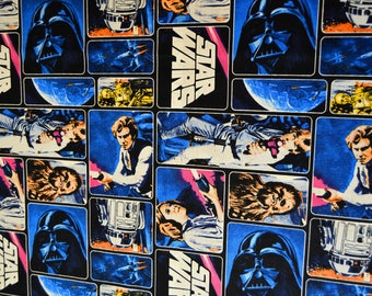 Star Wars Trilogy Fabric Featuring Luke, Leia, Han Solo, Darth Vader, Chewbacca, R2D2, & C-3PO