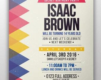 Kids Party Invitations, Birthday Invitation, Custom Invitation, Printable  Invitation, Instant Download Invitation