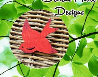Red Bird hand painted wooden sweater pin