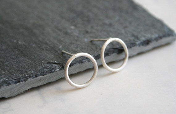 Small Sterling Silver Matte Brushed Circle Stud Earrings Gift under 30
