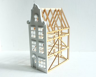 NEW Dutch row house with baroque gable, deconstructed structure - geometric architecture - Belgium, Amsterdam -  miniature house