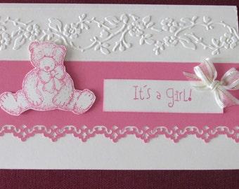 New baby. Birth card. Baby Girl card