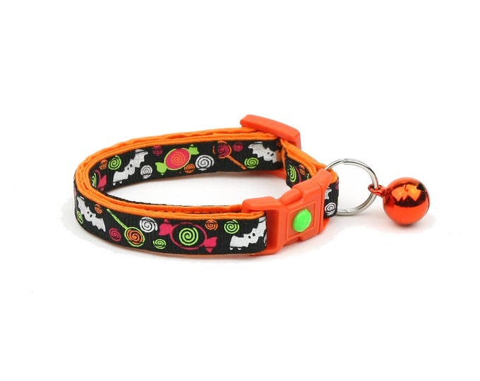 Halloween Cat Collar - Candy and Silver Bats - Kitten or Large Size